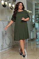 Платье, Ткань: Софт,  р-р  48-50, 52-54, 56-58, цвет: ( Фуксия, Хаки )