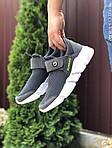 Чоловічі кросівки Running (темно-сірі з білим) 9574, фото 2
