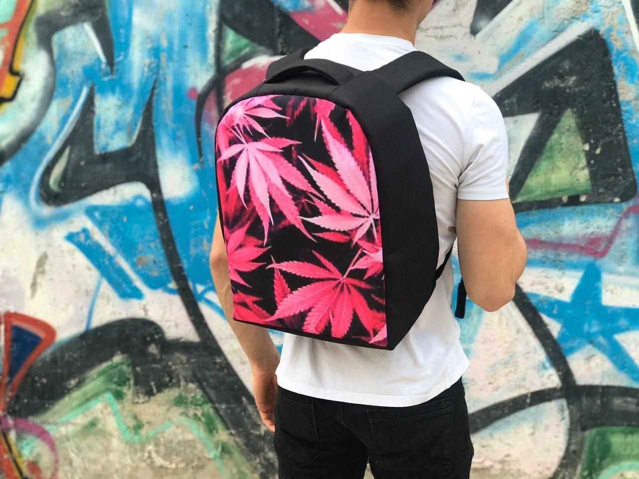 Городской рюкзак Антивор (черно-розовый) 1256