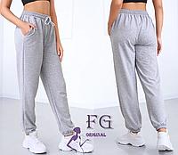 Женские спортивные штаны серые на шнуровке, фото 1
