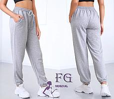 Жіночі спортивні штани сірі на шнурівці