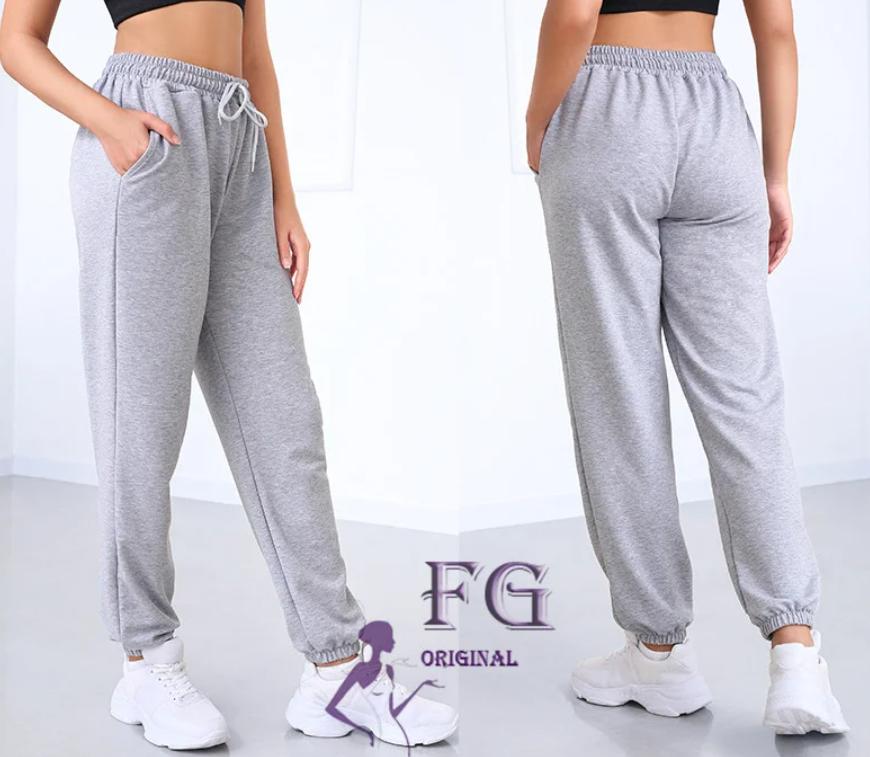 Женские спортивные штаны серые на шнуровке