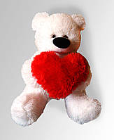 Мягкие игрушки Большой плюшевый медведь белый 180 см с сердцем 75см