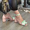 Босоножки женские кожаные на устойчивом каблуке. Цвет пудра/мята, фото 2