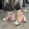 Босоножки женские кожаные на устойчивом каблуке. Цвет пудра/мята, фото 3