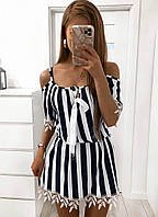 Платье, Ткань: Супер софт, Французское кружево,  р-р  42-44, 46-48 цвет: ( Чёрно - белый )