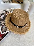 Женская красивая соломенная шляпа капелюх с лентой, в расцветках, фото 9