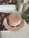 Женская красивая соломенная шляпа капелюх с лентой, в расцветках, фото 3