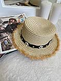 Женская красивая соломенная шляпа капелюх с лентой, в расцветках, фото 4