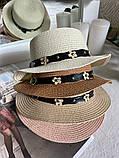 Женская красивая соломенная шляпа капелюх с лентой, в расцветках, фото 2