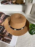 Женская красивая соломенная шляпа капелюх с лентой, в расцветках, фото 10