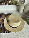 Женская красивая соломенная шляпа капелюх с лентой, в расцветках, фото 6