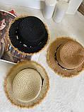 Женская красивая соломенная шляпа капелюх с лентой, в расцветках, фото 8