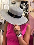 Женская красивая соломенная шляпа капелюх канотье с лентой, в расцветках, фото 3