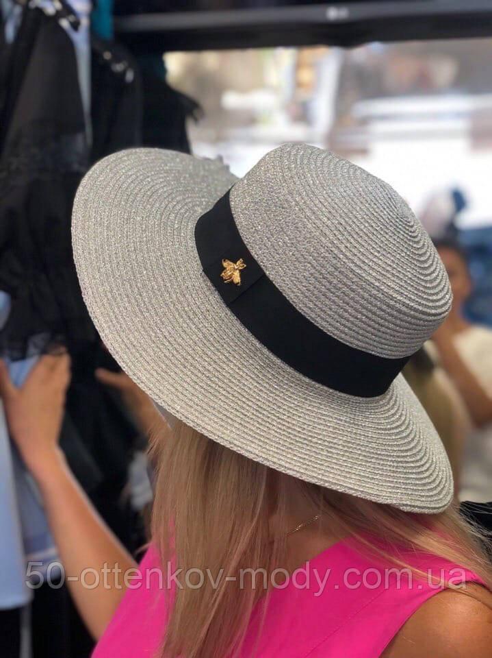 Женская красивая соломенная шляпа капелюх канотье с лентой, в расцветках