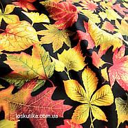 56015 Лиственная. Ткань с изображением листочков. Натуральные ткани с рисунком., фото 2