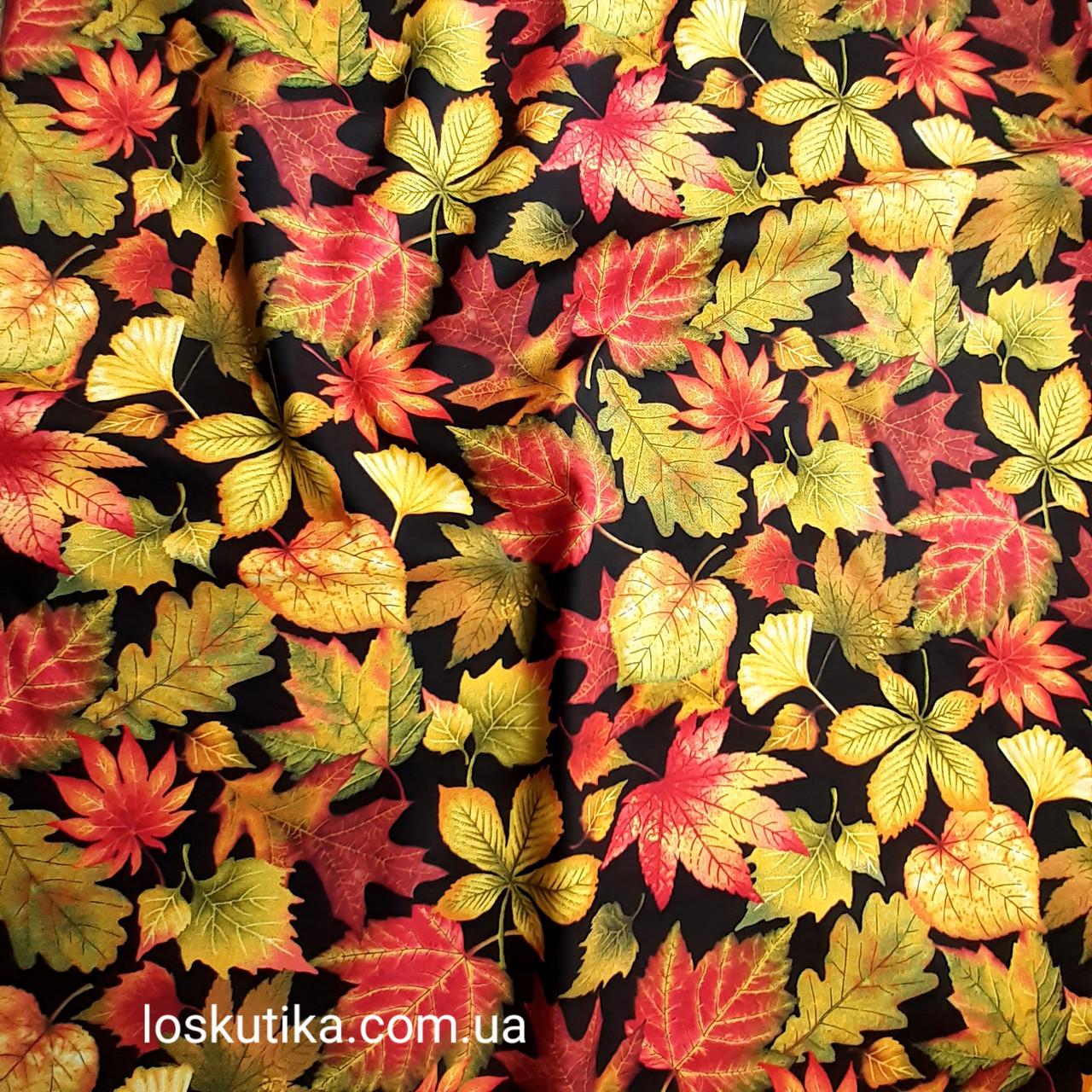 56015 Лиственная. Ткань с изображением листочков. Натуральные ткани с рисунком.