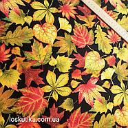 56015 Лиственная. Ткань с изображением листочков. Натуральные ткани с рисунком., фото 3