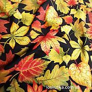 56015 Лиственная. Ткань с изображением листочков. Натуральные ткани с рисунком., фото 4