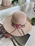 Жіноча солом'яний капелюх капелюх з квіткою, у кольорах, фото 7