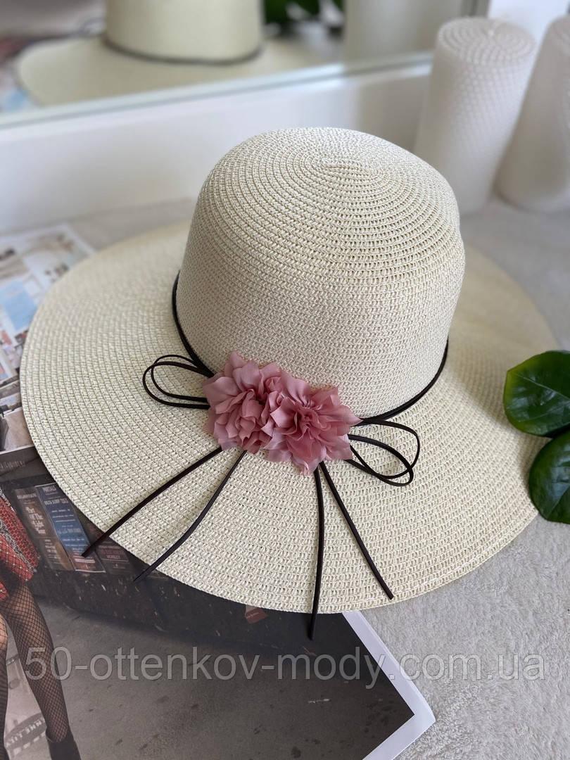 Жіноча солом'яний капелюх капелюх з квіткою, у кольорах