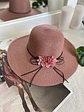 Жіноча солом'яний капелюх капелюх з квіткою, у кольорах, фото 6