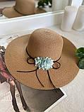 Жіноча солом'яний капелюх капелюх з квіткою, у кольорах, фото 4