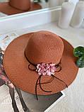 Жіноча солом'яний капелюх капелюх з квіткою, у кольорах, фото 2