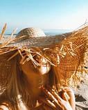 Женская шикарная соломенная шляпа капелюх с широкими полями, в расцветках, фото 2