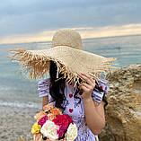 Женская шикарная соломенная шляпа капелюх с широкими полями, в расцветках, фото 4