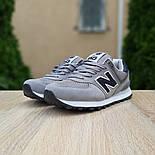 Женские кроссовки New Balance 574 замшевые серые с черным. Живое фото. Реплика, фото 2