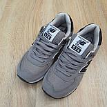 Женские кроссовки New Balance 574 замшевые серые с черным. Живое фото. Реплика, фото 9