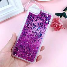 Чехол Glitter для Iphone 5 / 5s Бампер Жидкий блеск фиолетовый