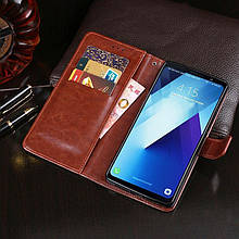 Чехол Idewei для Samsung Galaxy A8 Plus 2018 / A730F книжка кожа PU коричневый