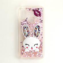 Чехол Glitter для Xiaomi Mi A2 Lite / Redmi 6 Pro бампер жидкий блеск Заяц Розовый