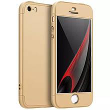 Чехол GKK 360 для Iphone 5 / 5s / SE Бампер оригинальный Gold без выреза