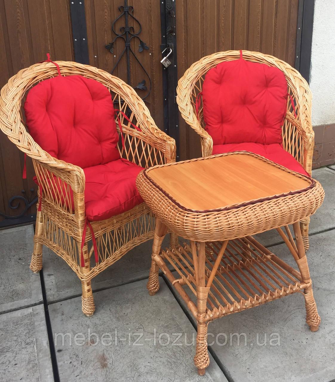 """2 крісла """"Звичайні"""" з мякушками №11 і квадратний столик """"Гриб з плитою"""""""