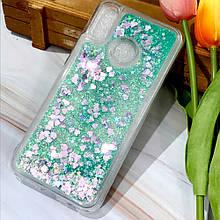 Чехол Glitter для Huawei P Smart Plus Бампер Жидкий блеск Бирюзовый