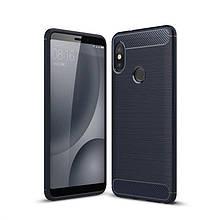 Чехол Carbon для Xiaomi Mi Max 3 бампер Синий