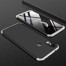 Чехол GKK 360 для Xiaomi Redmi Note 6 Pro бампер оригинальный Black-Silver