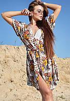 Льняная летняя пляжная женская туника-парео с цветочным принтом (1604-1.4210-4200 svt) Белый/желтые цветы