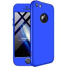 Чехол GKK 360 для Iphone 5 / 5s / SE Бампер оригинальный Blue с вырезом