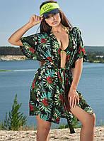 Льняная летняя пляжная женская туника-парео с цветочным принтом (1604-1.4210-4200 svt)
