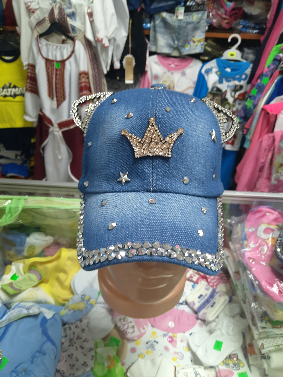 Джинсовая детская кепка бейсболка с ушками 5 6 7 8 9 10 11 лет