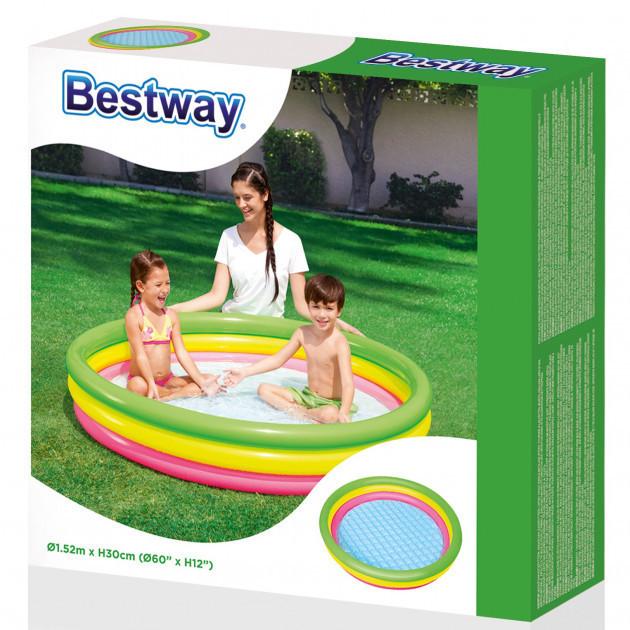 BW Бассейн 51103 детский, круглый, надувн дно,3 кольца,рем зап,211л,152-30см,в кульке,33-28см