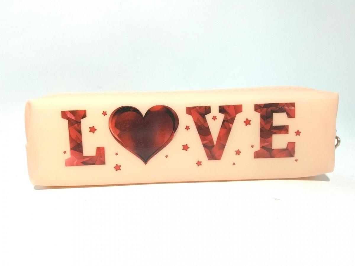 """Пенал силиконовый непрозрачный цветной с надписями """"LOVE"""""""