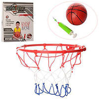 Баскетбольное кольцо M 3371 22см, металл, сетка,мяч16см, насос, игла,крепеж, в кор-ке