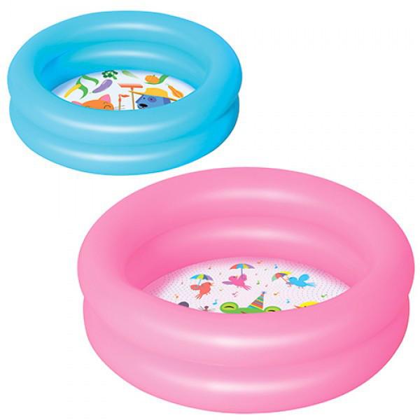 Бассейн Bestway BW 51061 детский круглый, 2 кольца, рем запл, 21л, 2 цвета,61-15 см, в кульке, 26,5-15,5см