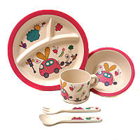 Посуда детская бамбук 5пр/наб (2 тарелки, вилка, ложка, чашка) Экологичная посудаMH-2771, фото 1