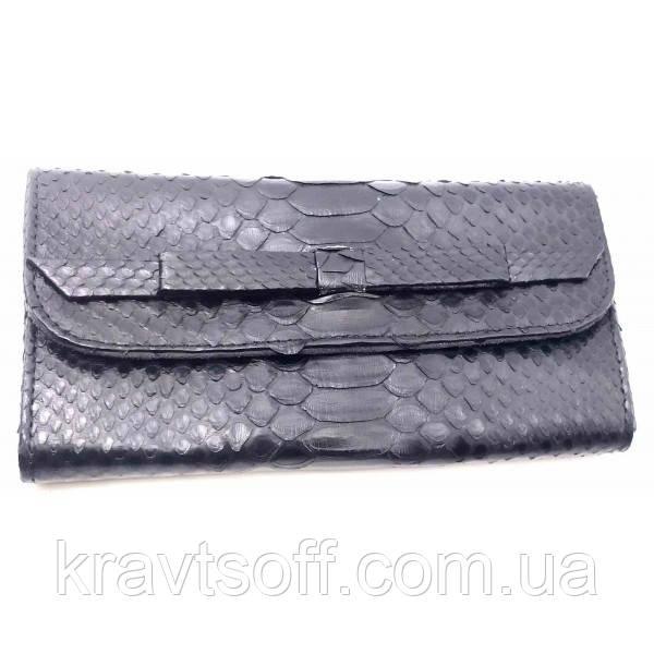 Кошелек из кожи питона черный лак (30х11х2 см) (32642E)